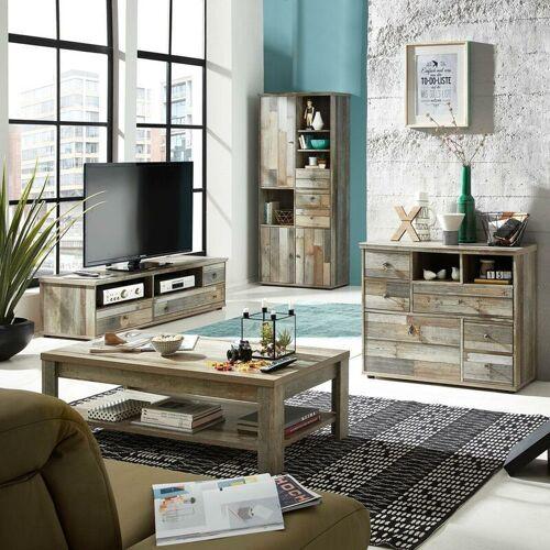 LOMADOX Wohnzimmerset Vintage Driftwood BRANSON-36 Couchtisch TV Lowboard