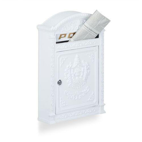 RELAXDAYS Briefkasten Antik, Englischer Wandbriefkasten, Aluguss, Briefschlitz