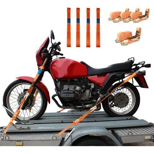 TRUTZHOLM® 4 Gurtschlaufen Doppelschlaufe + 4 Spanngurte Motorradspanngurt