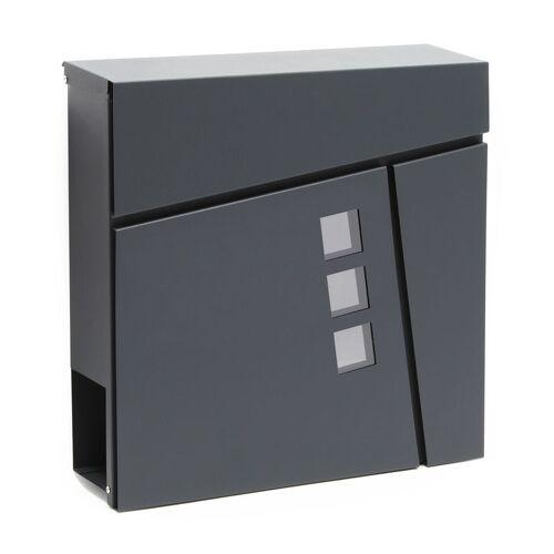 WILTEC Moderner Design Briefkasten V24 Anthrazit Wandbriefkasten