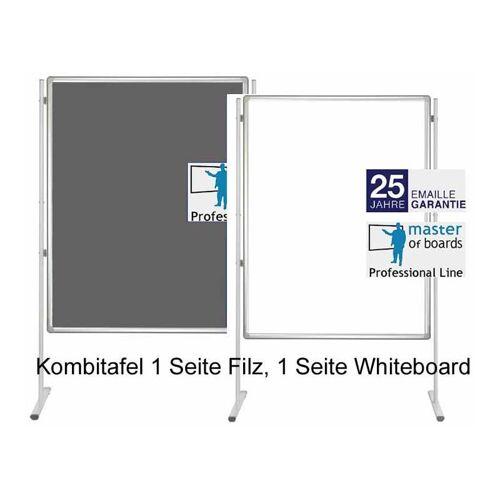 MASTER OF BOARDS Kombitafel Filz blau + Whiteboard   Stellwandsystem Prof.   120 x 90