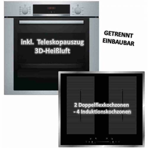 Bosch Backofen-Set HBA3140S0 mit Wolkenstein IF60-2FZW Induktionskochfeld