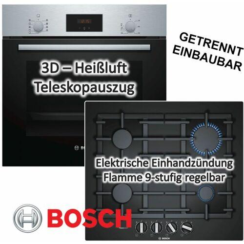 Bosch Herdset Autark Gasherd Einbau Backofen Heißluft + Gas Kochfeld auf Glas
