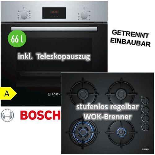 Bosch Herdset Autark Gasherd Einbau Backofen Heißluft + GAS Kochfeld auf