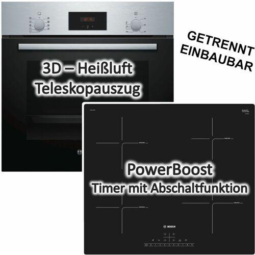 Bosch HERDSET INDUKTION AUTARK 3D Heißluft Backofen + Induktions Kochfeld