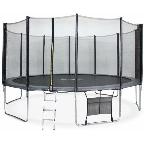 ALICE'S GARDEN 490cm graues Trampolin mit Schutznetz, Leiter, Plane, Schuhnetz,
