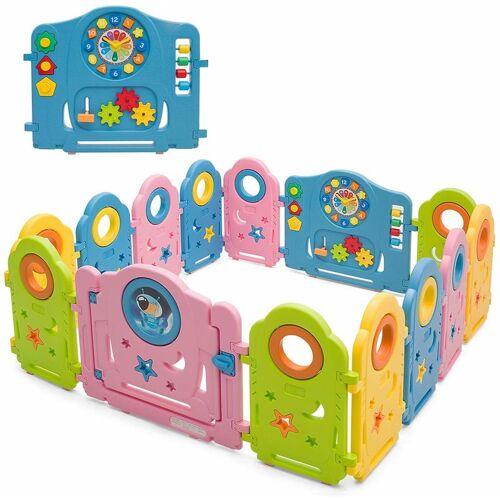 COSTWAY 14 Paneele Laufgitter, Baby Laufstall mit Tuer und Spielzeugboard,
