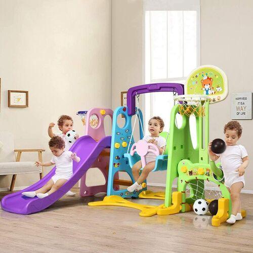 COSTWAY 6 in 1 Kinder Spielplatz, Kinder Rutsche & Schaukel &