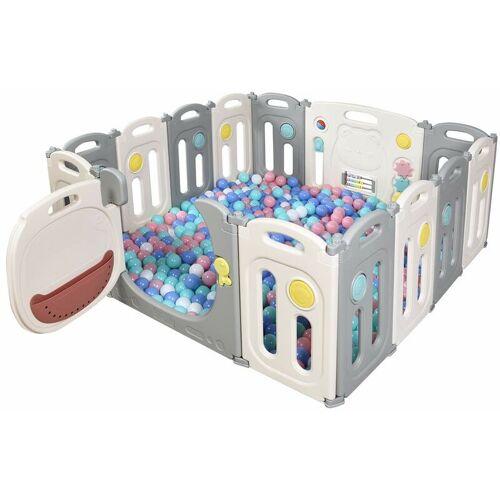 COSTWAY Laufgitter mit Tuer und Spielzeugboard, Baby Laufstall, Absperrgitter