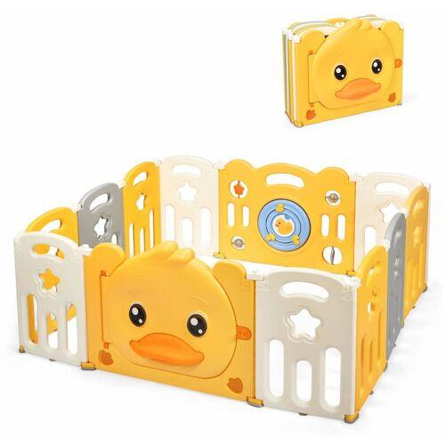 COSTWAY Laufgitter mit Tuer und Spielzeugboard, Baby Laufstall mit Sound,