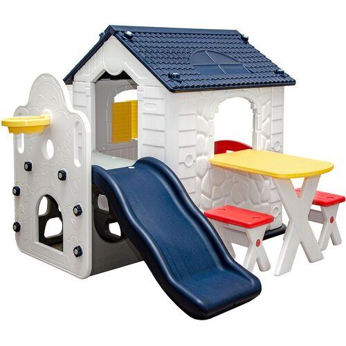 LITTLETOM Kinder Spielhaus mit Rutsche - Garten Kinderhaus ab 1 - Indoor
