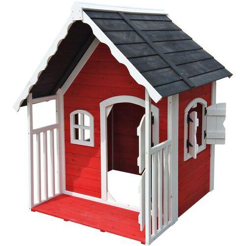 Wiltec - Spielhaus für Kinder aus Holz mit Veranda, Fenstern und