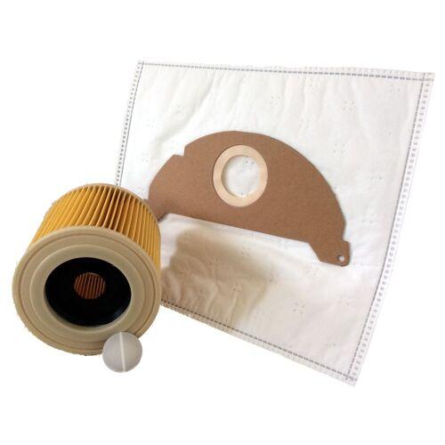 Daniplus - 10 Vlies Staubsaugerbeutel + 1 Patronenfilter für Kärcher A