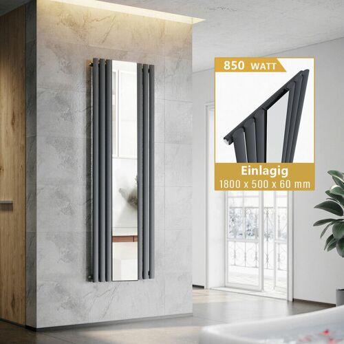 SONNI Paneelheizkörper Anthrazit mit Spiegel Design Heizkörper Vertikal