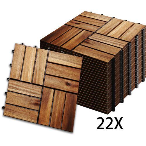HENGDA 2m² Holzfliesen Mosaik Akazienholz Fliese 22 Stück 30x30 cm