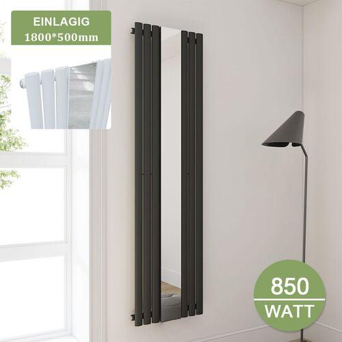 SONNI Badheizkörper 500 mit Spiegel Röhren Heizkörper Design 1800x500mm