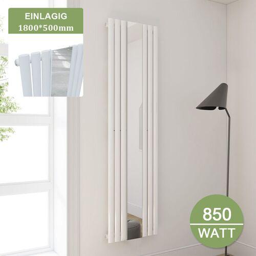 SONNI Badheizkörper 500 mit Spiegel Röhren Heizkörper Design 1800x500mm Weiß