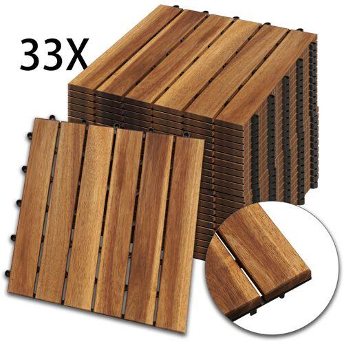 Hengda Holzfliesen 33-er Kachel Set ,3m², geeignet als Terrassenfliesen