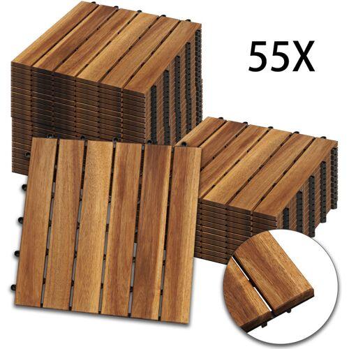 HENGDA Holzfliesen 55-er Kachel Set ,5m², geeignet als Terrassenfliesen und