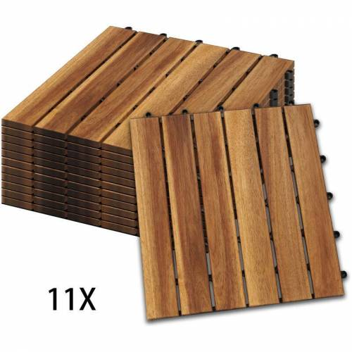 Hengda Holzfliesen 11-er Kachel Set ,1m², geeignet als Terrassenfliesen