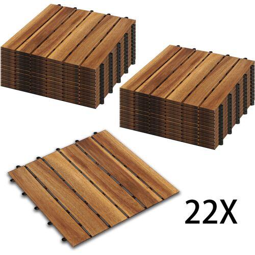 Hengda Holzfliesen 22-er Kachel Set ,2m², geeignet als Terrassenfliesen