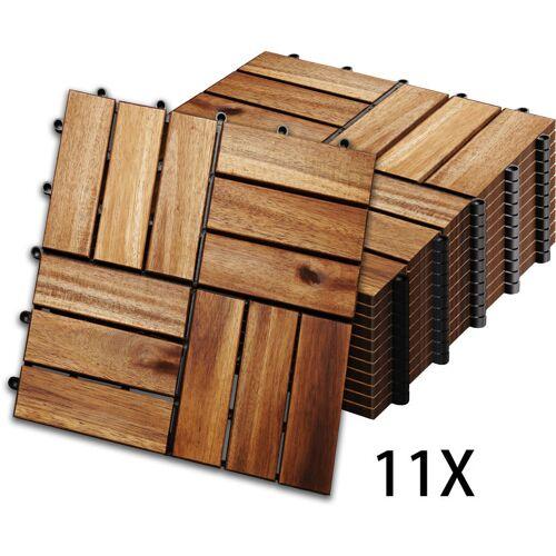 Hengda 1m² Holzfliesen Mosaik Akazienholz Fliese 11 Stück 30x30 cm