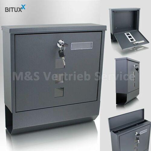 BITUXX Briefkasten anthrazit grau Post Briefkasten Wandbriefkasten mit