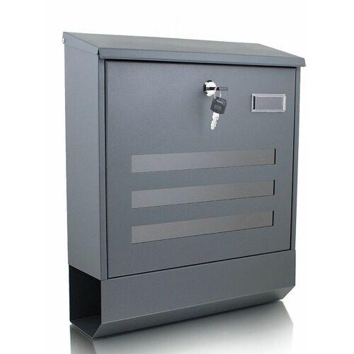 BITUXX Briefkasten grau anthrazit Post Briefkasten Wandbriefkasten und