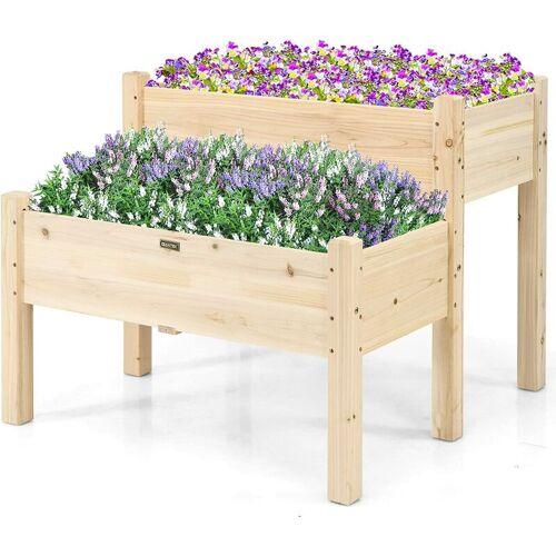 COSTWAY Hochbeet Blumentreppe Holz Pflanzkübel Pflanzkasten Blumenkübel