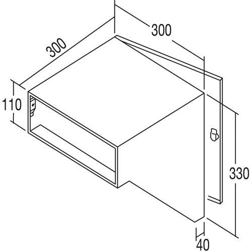 RENZ Durchwurfbriefkasten schräg,300x330x300 mm,Mauerstärke 320mm,Stahl