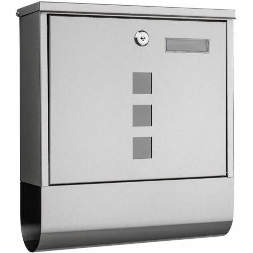 1PLUS Briefkasten, in diversen Variationen:mit Namensschild, Edelstahl - 1plus