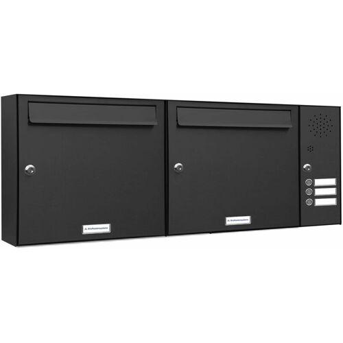 Al Briefkastensysteme - 2er Briefkasten Anlage Aufputz - Wandmontage