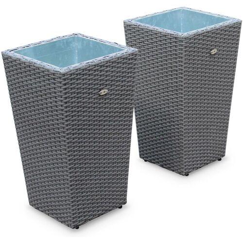 ALICE'S GARDEN 2er Set Blumentöpfe 60cm - PRATO Grau- Rattanoptik, Übertopf aus
