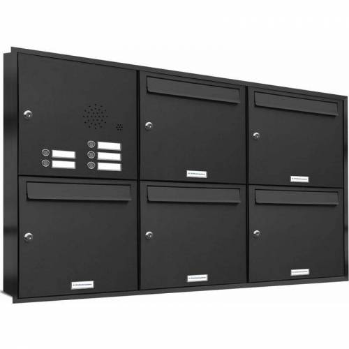 Al Briefkastensysteme - 5er Briefkasten Anlage für Unterputz Montage