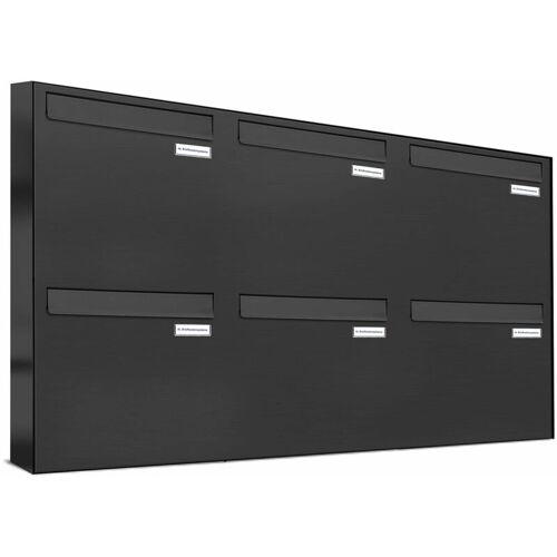 Al Briefkastensysteme - 6er Briefkasten-Anlage Tür- Zaundurchwurf RAL