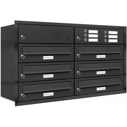 Al Briefkastensysteme - 6er Briefkasten Anlage Unterputz Montage RAL