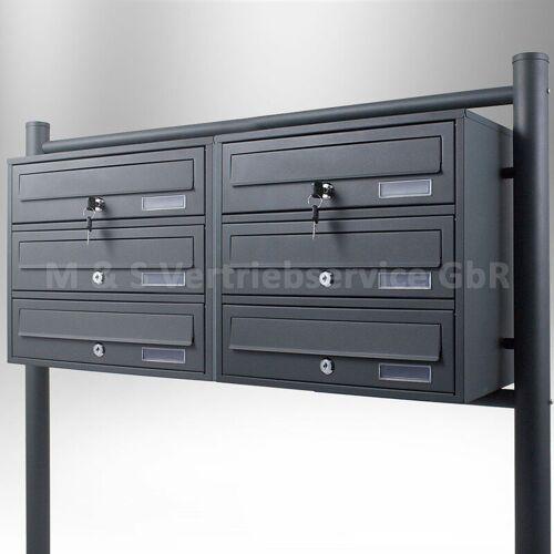 BITUXX 6er Doppel Briefkastenanlage Grau 6 fach Standbriefkasten Postfach