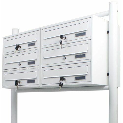 BITUXX 6er Doppel Briefkastenanlage Weiß 6 fach Standbriefkasten Freistehend