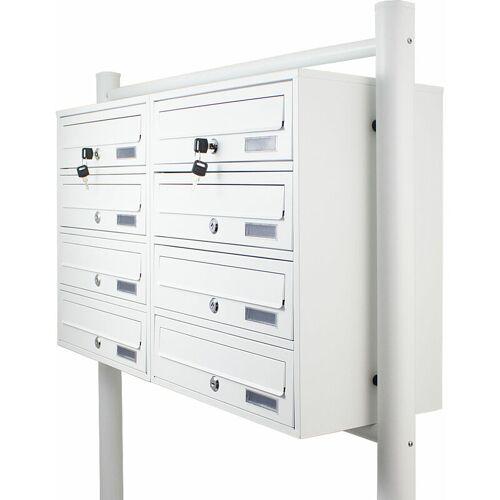 BITUXX 8er Doppel Briefkastenanlage Weiß 8 fach Standbriefkasten Freistehend
