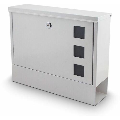 BITUXX Briefkasten weiß Post Briefkasten Wandbriefkasten mit Zeitungsfach