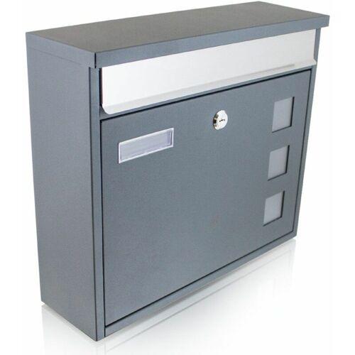BITUXX Design Briefkasten Grau Wandbriefkasten Mailbox Postkasten