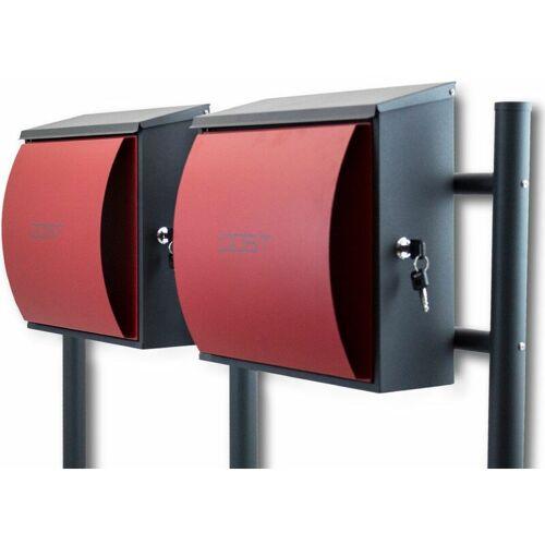 BITUXX Design Doppelstandbriefkasten Briefkastenanlage Seitenschloss und