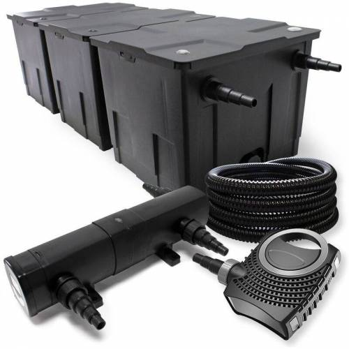 WILTEC Filter Set aus Bio Teichfilter bis 90000l UVC Klärer mit 36W 80W Pumpe