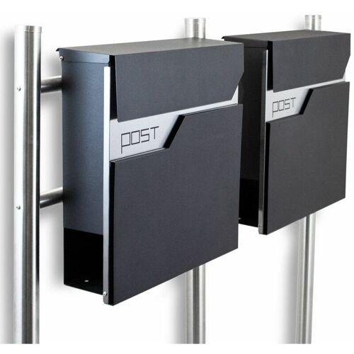 BITUXX Freistehender Design Doppel Standbriefkasten 16782 Briefkastenanlage