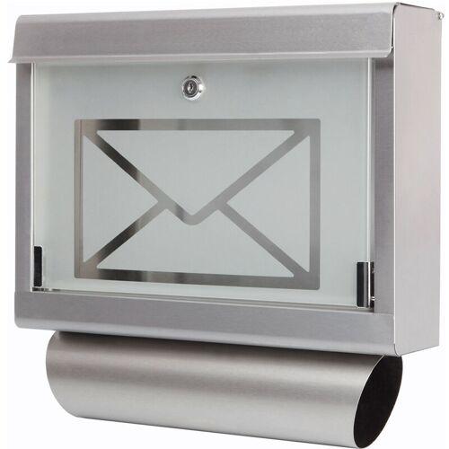 GRAFNER ® Briefkasten mit Zeitungsrolle aus Edelstahl und Glas Motiv