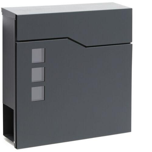 WILTEC Moderner Design Briefkasten V20 Anthrazit Wandbriefkasten