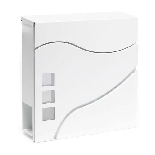 Wiltec - Moderner Design Briefkasten V28 Weiß Wandbriefkasten