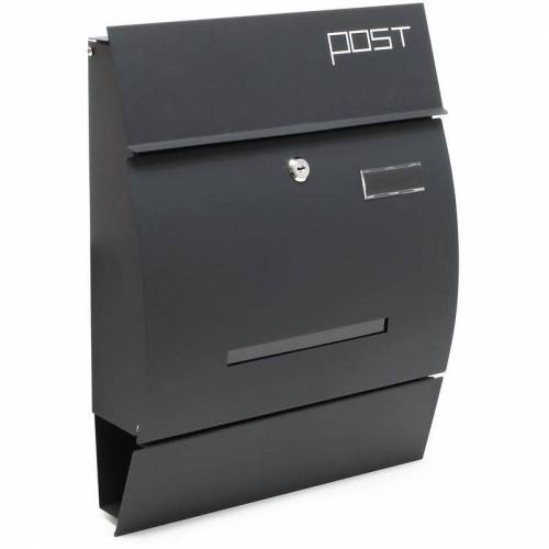 WILTEC Moderner Design Briefkasten V4 Anthrazit Wandbriefkasten