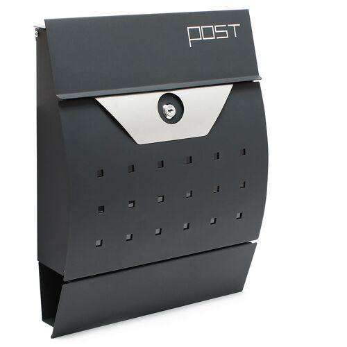 WILTEC Moderner Design Briefkasten V5 Anthrazit Wandbriefkasten