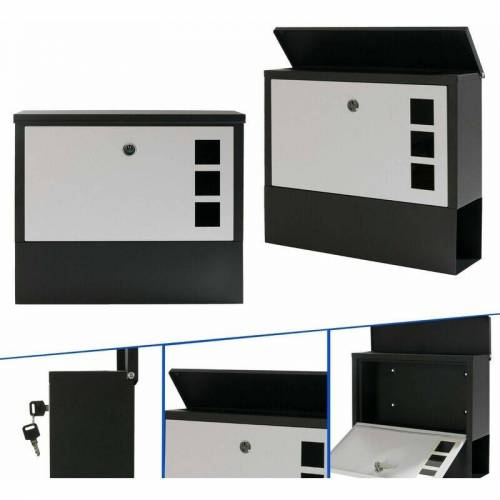 AREBOS Moderner Design Briefkasten Wandbriefkasten Postkasten - Weiß - Arebos